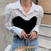 假兩件針織上衣 韓國秋季小眾設計款翻領拼接針織假兩件設計泡泡袖襯衫上衣女 小天使