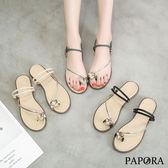PAPORA三角水鑽S型夾腳涼拖鞋K11457黑/綠/杏(偏小)