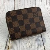 BRAND楓月 LOUIS VUITTON LV N63070 棋盤格 拉鍊卡包 小拉鍊短夾 信用卡夾