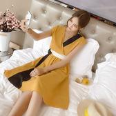 【$388低價出清 不退不換】大韓訂製雪紡洋装韓V領撞色無袖連身裙束腰中長款長裙