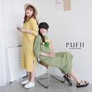 限量現貨◆PUFII-洋裝 素面V領口袋短袖側開衩長洋裝-0715 現+預 夏【CP20813】