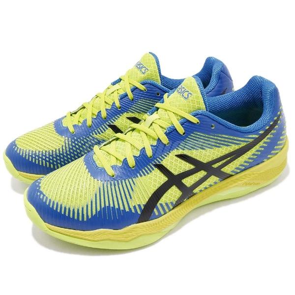 【六折特賣】Asics 排羽球鞋 Volley Elite FF 綠 藍 SpEVA 舒適中底 運動鞋 男鞋【ACS】 B701N-7743