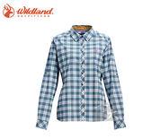 丹大戶外【Wildland】荒野 女彈性抗UV格子長袖襯衫 0A71203-65 湖水藍