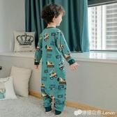 兒童睡衣小男孩春秋純棉長袖套裝秋冬寶寶連體恐龍套裝男童家居服 雙十二全館免運
