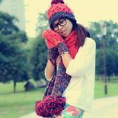 圍巾+毛帽+手套羊毛三件套-可愛保暖針織防寒配件組合4色71an3[巴黎精品]