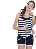 ★奧可那★ 藍白條紋運動型兩件式泳裝