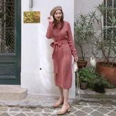 梨卡 - 韓國甜美氣質綁帶蝴蝶結顯瘦中長版針織連身裙洋裝B762
