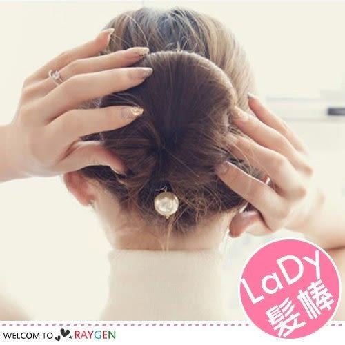 韓版海綿雙勾珍珠盤髮器 丸子頭 髮棒