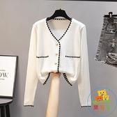 針織衫上衣女外搭開衫薄款小香風冰絲短款毛衣女長袖外套