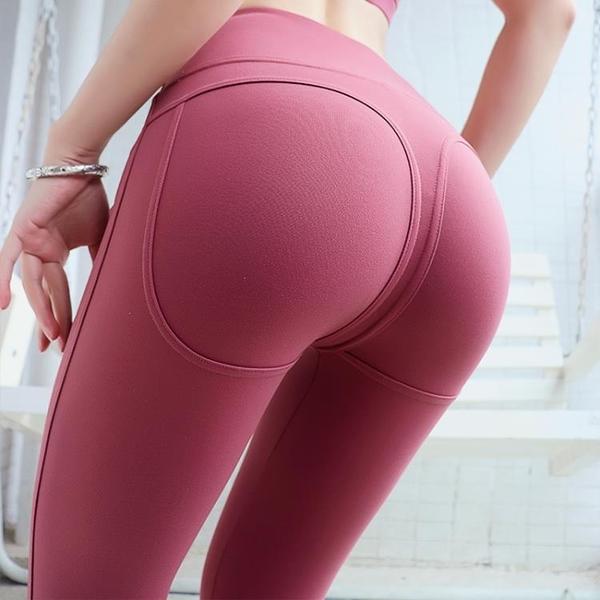健身褲瑜伽褲女外穿高腰歐美蜜桃提臀無痕彈力健身褲運動顯溝緊身褲【低至82折】