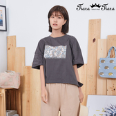 【Tiara Tiara】百貨同步新品aw雜 字母刺繡變形蟲圖騰T恤(灰綠/黑)