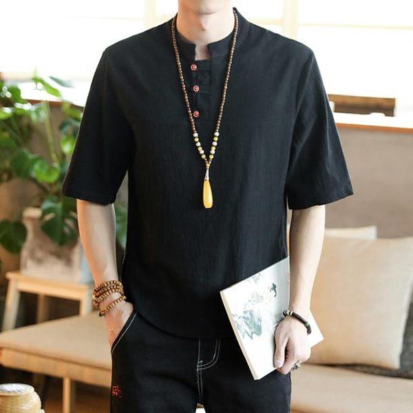 中國風男裝亞麻T恤短袖亞麻上衣夏季精神小伙社會大呎碼寬鬆半截袖【限時85折】