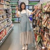 背帶裙子女夏裝2020新款初中學生韓版牛仔網紗長裙吊帶連身裙套裝 小時光生活館