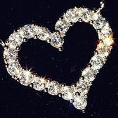 925純銀項鍊鑲鑽-愛心造型經典唯美百搭銀飾女墜飾73y71[巴黎精品]