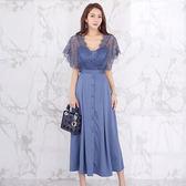 【GZ3E1】7501#夏裝新款韓版氣質V領拼接花邊袖收腰單排扣大擺連身裙洋裝女