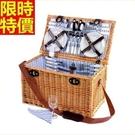 野餐籃餐具組合編織籃子-戶外六人簡約藍白條郊遊用品68e17【時尚巴黎】