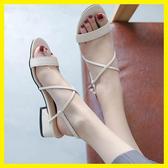 羅馬港風涼鞋新款女夏綁帶一字扣粗跟網紅高跟鞋氣質淑女中跟 ☸mousika