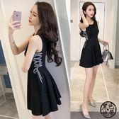 2018夏季新款女裝韓版綁帶高腰赫本小黑裙a字修身顯瘦無袖連衣裙無袖洋裝·黑色地帶
