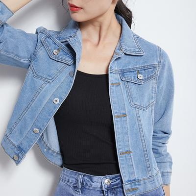 機車牛仔外套~淺藍色短款牛仔外套女韓版款上衣網紅牛仔衣 K8268MC046莎菲娜