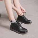 短靴馬丁靴女夏英倫風ins短筒網紅學生春秋新款百搭帥氣復古黑色短靴(快速出貨)