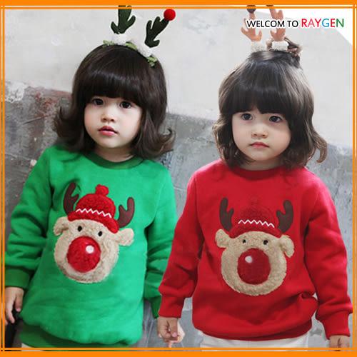 童裝 男女童聖誕麋鹿加厚不倒絨長袖上衣