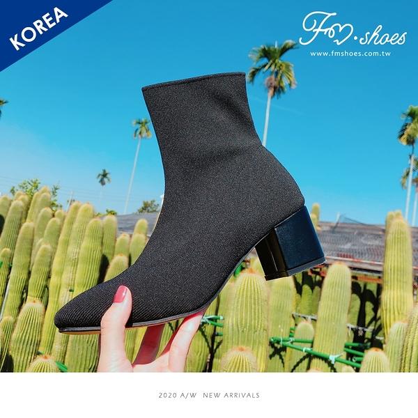 靴.彈性針織粗跟襪靴(黑)-FM時尚美鞋-韓國精選.Sincerity