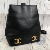BRAND楓月 CHANEL 香奈兒 2開 復古 黑色 金釦 雙C LOGO 水桶包 單肩包 手提包