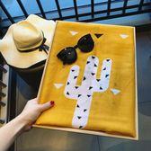 韓風絲巾女夏季棉麻手感圍巾姜黃色三角幾何薄紗巾防曬披肩沙灘巾—交換禮物
