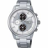 【僾瑪精品】SEIKO 精工 SPIRIT 宇宙科技三眼計時腕錶-銀x白/V172-0AA0S(SBPY001J)