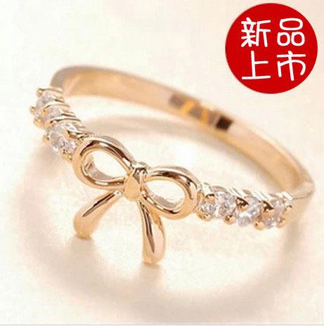 ►鏤空閃鑽蝴蝶結戒指 韓版亮鑽指環【B2013】