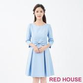 【RED HOUSE 蕾赫斯】蝴蝶結花紋洋裝(共2色)