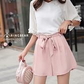 褲裙--時尚優雅氣質甜美高腰繫帶A字修身百搭短褲裙(黑.粉XL-4L)-R219眼圈熊中大尺碼