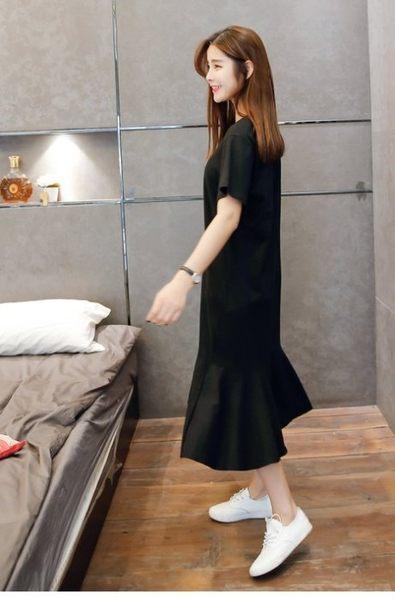 漂亮小媽咪 孕婦長裙 【D4920】 短袖 純色 魚尾裙 孕婦裝 長洋裝 魚尾 長裙