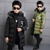 鋪棉加厚連帽外套 防風毛領男童長版夾克大衣 FM15403 好娃娃中大童裝