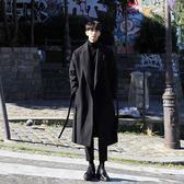 日系風衣男長款加厚保暖呢大衣男潮男士寬鬆呢外套毛呢子韓版  初見居家