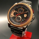 星晴錶業-FERRARI法拉利男錶,編號FE00008,46mm玫瑰金錶殼,鐵灰色錶帶款