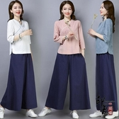 2020春秋 新款復古中國風瑜伽服漢服女茶人服 大腿褲氣質兩件套裝