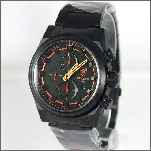 【萬年鐘錶】elegant大錶徑 三眼多功能 特別款(全黑-綠) ELJT51-OG07MA