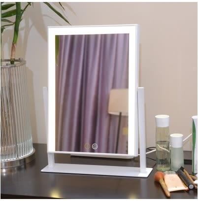 台式單面化妝鏡帶燈泡梳妝鏡子方形專業美容鏡子