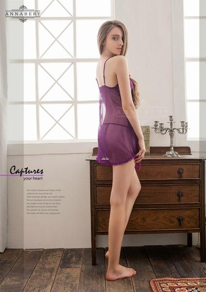 (特價) 大尺碼 Annabery透視柔紗特殊裙襬二件式睡衣 (OS小舖)