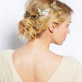 【NiNi Me】韓系髮飾 優雅時尚鏤空金色蝴蝶左右邊髮夾 髮夾 H9287