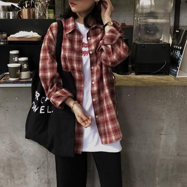 FINDSENSE G6 韓國時尚潮流 網紅格子襯衫女寬鬆BF長袖襯衣原宿女裝上