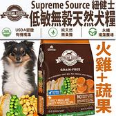 四個工作天出貨除了缺貨》美國紐健士》低敏無穀天然全齡犬糧(火雞+蔬果)-5lb