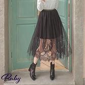 裙子 百褶珍珠鬆緊紗裙長裙-Ruby s 露比午茶