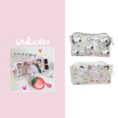 -兩款-史努比透明PVC防水化妝包 收納包 小物包 拉鍊包 Unicorn手機殼