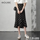 波點半身裙女夏季雪紡長裙2020新款高腰包臀裙中長款小碎花魚尾裙 怦然心動