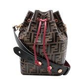 【台中米蘭站】全新品 FENDI 經典logo帆布包身牛皮飾邊肩/斜背水桶包(8BT298-咖)