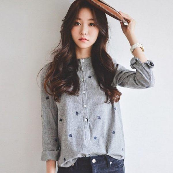 *初心*韓國 leaf 長袖 條紋 立領 開扣 襯衫 刺繡 女性襯衫 文藝 長袖襯衫 C0727