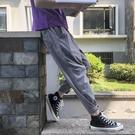秋季薄款亞麻褲子男闊腿九分哈倫褲百搭復古束腳運動休閒長褲