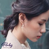 耳環 RCha。韓‧珍珠水鑽925銀針後扣式耳環-Ruby s 露比午茶